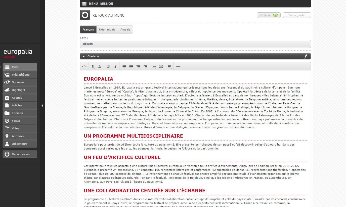 Europalia administration page